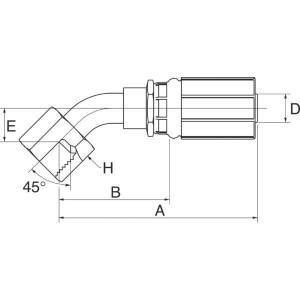 Perspilaar met wartel 45° FSX45