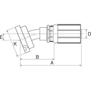 Perspilaar 22° bocht FL22M SAE flensaansluiting