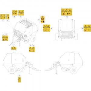 44 Stickers veiligheid passend voor KUHN FB119