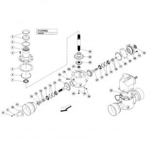03 Gyrodine tandwielkast, onder passend voor KUHN FC350G