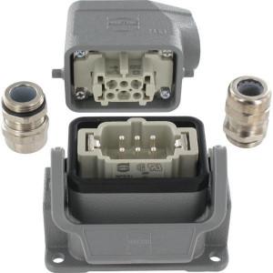 Harting Complete stekkerset opbouw 6P - HANKIT06BS | Aluminium / Polycarbonaat | Schroefaansluiting