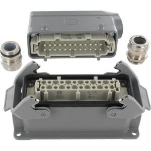 Harting Complete stekkerset opbouw 24P - HANKIT24BS | Schroefaansluiting | Aluminium / Polycarbonaat