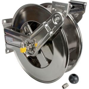 "Ramex Autom. slanghaspel RVS - HD1000 | Zelfoprollend | 200 bar | 90 °C | 145 kg | RVS AISI 304 | Buitendraad 1/2"" in | Binnendraad 1/2"" uit | 180 mm | 232 mm | 140 mm | 204 mm | 262 mm | 560 mm | 430 mm | 115 mm | 260 mm | 460 mm | 1/2 Inch"