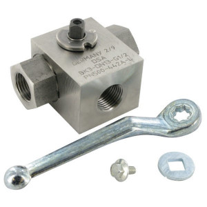 Dicsa 3-Wegkraan L-Plug 3/8 BSP RVS - KH3KSR06RVS | Roestvaststaal | L-boring | 3/8 BSP | 400 bar | KH 910.10 | KH 909