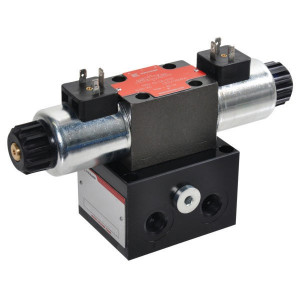 """Voetplaat incl. ventiel 24VDC - KRKLS031C3024C   Aluminium   Max. 35 l/min   220 bar   1/4"""" Inch BSP   24 VDC V   3/8"""" BSP   60 l/min"""