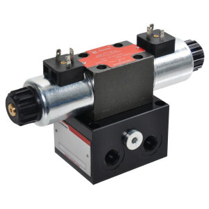 """Voetplaat incl. ventiel 24VDC - KRKLS031C6024C   Aluminium   Max. 35 l/min   220 bar   1/4"""" Inch BSP   24 VDC V   3/8"""" BSP   60 l/min"""