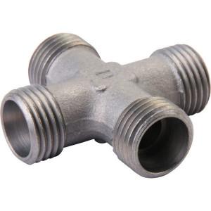 Voss Kruiskoppeling 12S - KS12S | Minder kans op lekkage | Zink / Nikkel | 21,5 mm | 630 bar | 12 mm | M20 x 1,5 mm