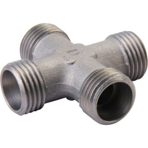 Voss Kruiskoppeling 22L - KS22L | Minder kans op lekkage | Zink / Nikkel | 27,5 mm | 160 bar | 22 mm | M30 x 2 mm