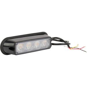 Flitslamp oranje 4 LED - LA20011 | 132x34x30 mm | 12/24 V | 12 W | 14 knipperpatronen