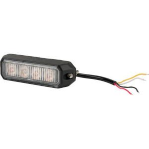 Flitslamp oranje 4 LED - LA20013 | 96x28x19 mm | 14 knipperpatronen | 12 W | 12/24 V