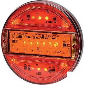 LED achterlicht 5-polig - LA40012 | 0,404 kg | 140 mm | EMC/E20 | Ø140 x 25 mm | YLY-S 4 x 0,75mm2 | 5 pin (TYCO) | 12/24 V