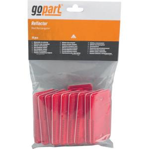Gopart Reflector, rood, rechthoekig - LA75003 | 4,4 mm | 44 x 94 mm | PMMA/ABS | met gaten