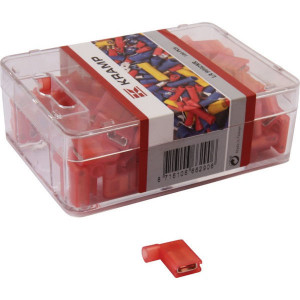 Vlakstekkerhuls haaks rood - LA9092KR | 6.3x 0.8 mm | 0,5 1,0 mm²