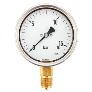 Gasli Manometer Ø100 0-16b - MA10016L08SS | 0 16 bar | 100 mm