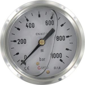 "Manometer Ø63 0-1000 ¼"" acht - MA6301000L04SSGF | Achter | 1 1000 bar | 63 mm"