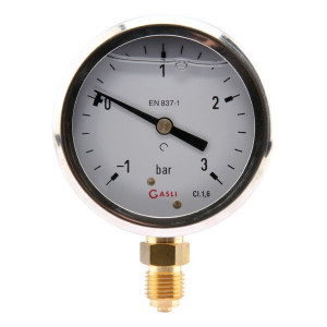Manometer d.63 -1 +3 bar onder - MA63013L04SSGF | -1 +3 bar | 63 mm