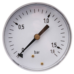 "Gasli Manometer Ø63 0-1,6bar ¼"" acht - MA63016B04ST | Achter | 0 1,6 bar | 63 mm"