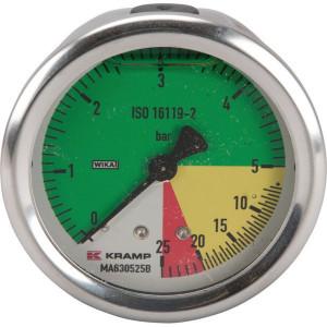"WIKA Manometer 63 1/4"" achter AHL-vast - MA630525B | Achteraansluiting | 0 5 bar in 1/10 | 63 mm | 0 5 20 25 bar | DIN ISO 16119-2"