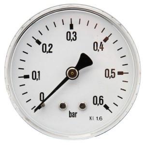 "Gasli Manometer Ø63 0-0,6bar ¼"" acht - MA6306B04ST | Achter | 0 0,6 bar | 63 mm"