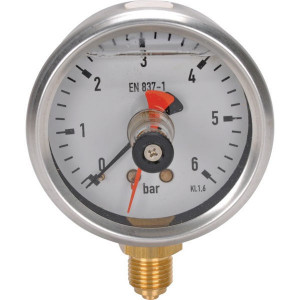 Gasli Manometer Ø 63mm 0-6 bar RVS behuizing-sleepwijzer - MA6306MEMPOINT | 0 6 bar | -20 / +80 °C °C | 63 mm