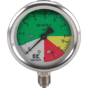 "WIKA Manometer ø63mm 1/4"" 0-8-20-25 - MA630825 