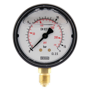 "WIKA Manometer Ø63 0-16bar ¼"" onder - MA6316L04PLGF 