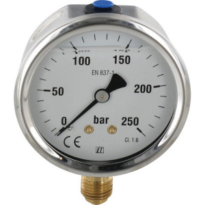 "Manometer Ø63 0-250bar ¼"" onde - MA63250L04SSGF 