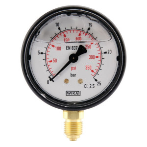 "WIKA Manometer Ø63 0-25bar ¼"" onder - MA6325L04PLGF 