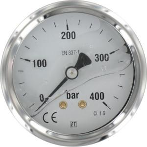 "Manometer Ø63 0-400bar ¼"" ach - MA63400B04SSGF | Achter | 0 400 bar | 63 mm"