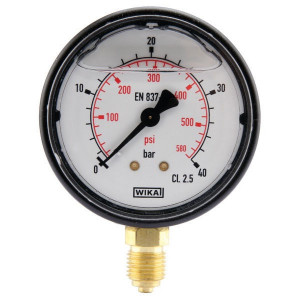 "WIKA Manometer Ø63 0-40bar ¼"" onder - MA6340L04PLGF 