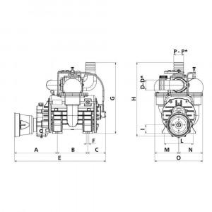Battioni Pagani Compressor dir. L. autsm. BP - MEC13500MAVLA | 1000 Rpm omw/min | 13845 l/min | 44 kW kilowatt | 1 3/8 Inch | 391 mm | 247 mm | 192 mm | 100 mm | 830 mm | 575 mm | 605 mm | 246 mm | 195 mm | 195 mm | 390 mm | 100 mm | 0,95 bar | 2,5 bar |
