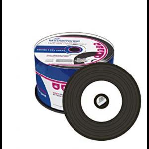 MediaRange Printable CD-R Schijven Vinyl, 700Mb / 80 minuten opslagruimte, snelheid 52x, 50 stuks, cakebox verpakking