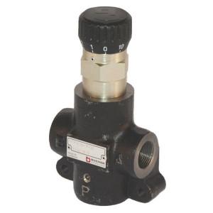 Bucher 3-Weg stroomr.vent. 0-65 l/min - MTKA2VDM08 | 315 bar | M22 x 1,5 | M22 x 1,5 | Handwiel | 315 bar | 65 l/min | 70 l/min | M22 x 1,5