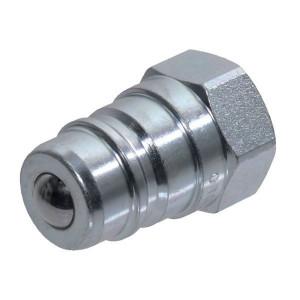 "Faster Insteeknippel 3/8"" BSP - NS38GASM | Met kogelventiel | Carbonstaal | NBR / PFTE | Wit gepassiveerd | 3/8"" | 30 l/min | 250 bar | 3/8"" BSP"