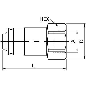 "Parker Inzetstuk 1/2"" - NS5028FB | 1/2"" Inch | 49.5 mm | 31,2 mm | 21,1 mm | 1/2"" | 1 1/16"" Inch"