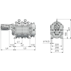 Lobbenpomp R116-300 H - PPK0000326 | Lange levensduur | 2.600 l/min | 156 m³/h | 470 Rpm | 490 Nm | 75 l/min | 200 bar | DN 150 | 195,5 mm | 391 mm | 620 mm | 181 mm | 135,7 kg