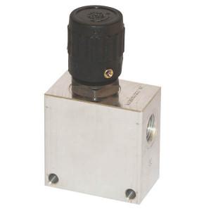 """Walvoil 2-Weg stroomr. ventiel 90L 1/2 - PU12001   Aluminium   129 mm   210 bar   50 l/min   Handwiel   1/2"""" BSP"""