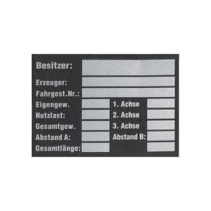 Sticker voertuiggegevens - R8003 | Sticker