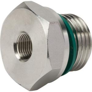 "Dicsa Verloopring 1/2 x 1/8 RVS - REDR1218WDRVS | DIN ISO 228 | RVS 316 L | Nitrilrubber (NBR) | 630 bar | 1/2"" BSP | 1/8"" Inch BSP | 14 mm"