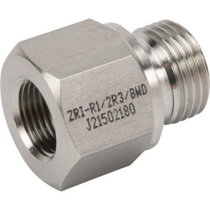 "Dicsa Verloopring 1/2 x 3/8 RVS - REDR1238WDRVS | DIN ISO 228 | RVS 316 L | Nitrilrubber (NBR) | 400 bar | 1/2"" BSP | 3/8"" Inch BSP | 14 mm"