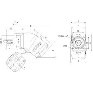Sunfab Plunjerpomp 34cc - L - SAP034LNDL4L35S0S | 2300 Rpm omw./min. | 3000 Rpm omw./min. | 6,5 Nm | 7,1 kg | 34.2 cc/omw | 400 bar | 116 mm | 206 mm | 3⁄4 Inch | 115 mm | 102 mm | 106 mm