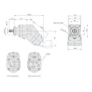 Sunfab Plunjerpomp 76+76cc - R - SCPD7676RNDL4L35 | 1500 Rpm omw./min. | 1700 Rpm omw./min. | 34,5 Nm | 23,2 kg | 75 + 75 cc/omw | 350 bar