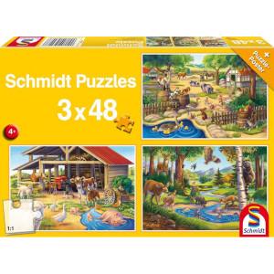 Schmidt Puzzel boerderijdieren 3x48 s - SH56203 | 26,3x17,8 cm