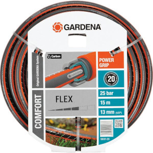"Gardena Flex. slang 1/2"" 15m - SL18031 | Zwart met oranje strepen | Spiraalweefsel textiel | 1/2 Inch | 25 bar | 170,2 mm"
