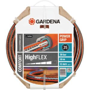 "Gardena Slang Comfort HighFLEX 1/2"" 20m - SL18063 | Zwart met oranje strepen | Spiraalweefsel textiel | 1/2 Inch | 10 bar | 30 bar"