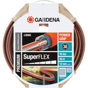 "Gardena Superflex. slang 1/2"" 30 m - SL18096 | Zwart met oranje strepen | Spiraalweefsel textiel | 1/2 Inch | 12 bar | 35 bar"