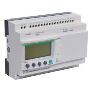 Schneider-Electric Zelio Logic, 12VDC, 16I, 10O - SR3B261JD | 12V DC | relais Relais/Transistor | 1 A A/per stuk | 8 A A/totaal | 1 (1kHz) | 4 x 18 characters