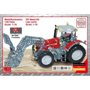 Tronico MF 8690 met frontlader - T10081 | 1391 onderdelen | Van metaal, bouwpakket | Massey Ferguson