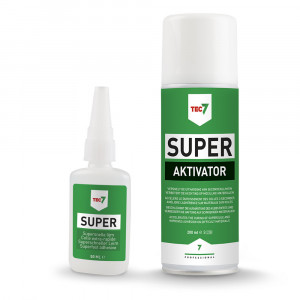 Tec7 Super 50 ml + Tec7 Super Aktivator 200 ml - 501150000   Harde breedspectrum secondenlijm