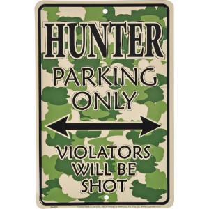 "Tractorfreak Bord ""Hobby Hunter parking only"" - TTF0111 | Aluminium | 200x300 mm"